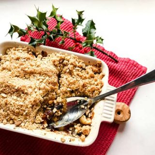 Apple and Mincemeat Crumble with spoon
