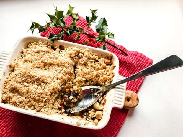 Mincemeat and Apple Crumble with spoon