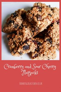 Cranberry and Sour Cherry Flapjack, packed full of oats, berries and nuts #flapjack #oat #bars #cranberries #recipe