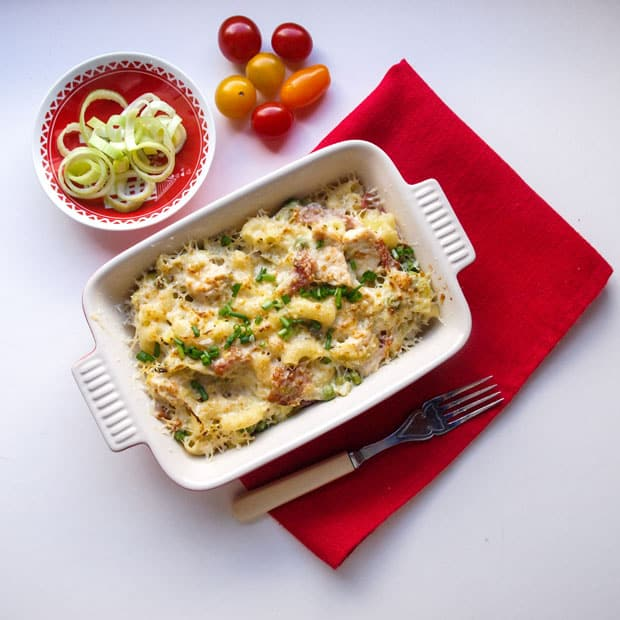 Comforting Leftover Turkey and Leek Pasta Bake