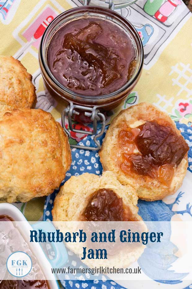 Scones topped with Rhubarb and Ginger Jam