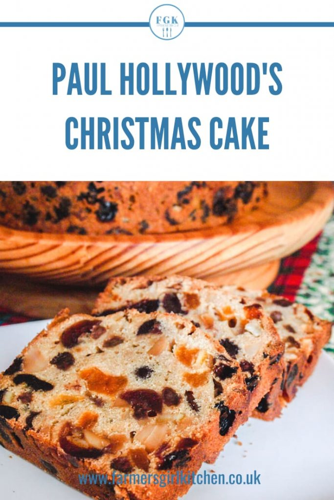Slices of Fruit Cake Text reads Paul Hollywoods Christmas Cake.