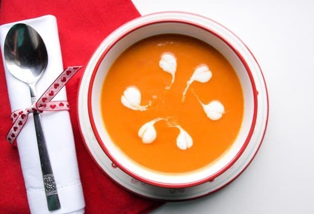 A warming bowl of carrot and tomato soup