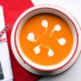 Creamy Carrot and Tomato Soup, so easy to make, so good to eat.