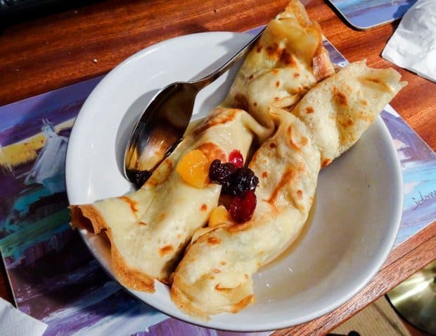 Crespelle Sweet Italian Pancakes served with a dried fruit compote
