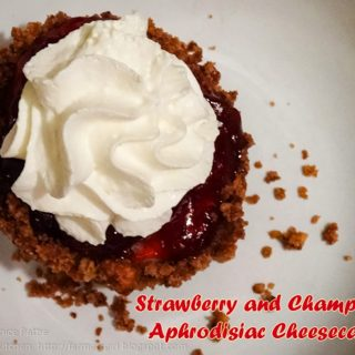 Strawberry and Champagne Aphrodisiac Cheesecakes for Valentine's Day