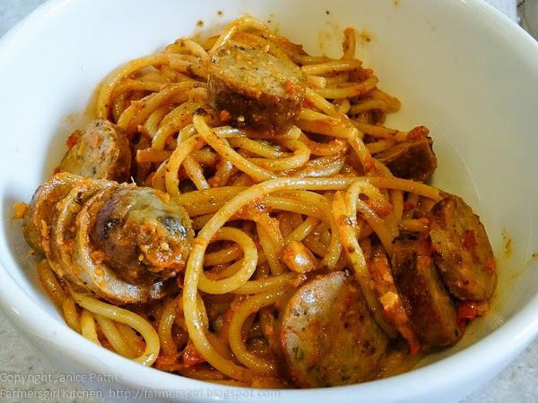 Sausages with Spaghetti Red Pepper Pesto
