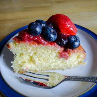 A delicious slice of Strawberry and Blueberry Cake