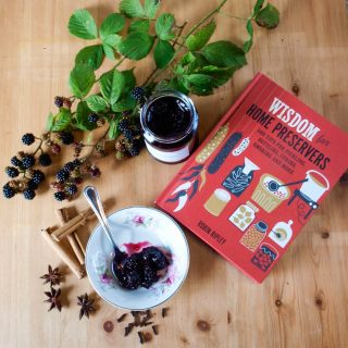 blackberry jam, book and blackberries