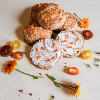 Cheese & Chive Scones with flowers