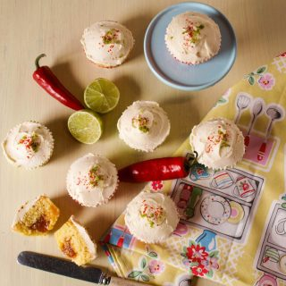 Chilli Lime Cupcakes, soft cake filled with Chilli, Lime and Ginger Jam and topped with Chilli Lime Buttercream