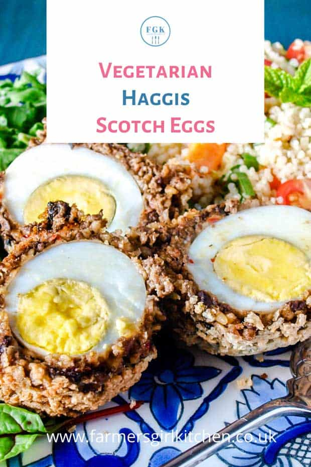 Vegetarian Haggis Scotch Eggs with salad