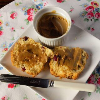 Cranberry and Flaxseed Scones with molasses butter