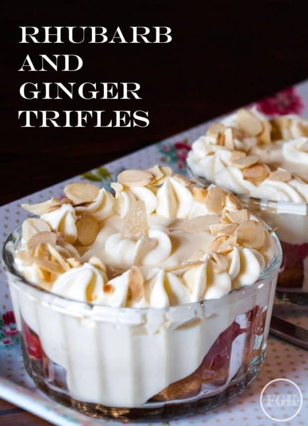 A Simple Rhubarb and Ginger Trifle recipe creates 4 individual trifles from only two stalks of rhubarb #rhubarb #ginger #trifle #dessert #recipe