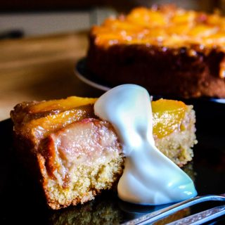 Sliuce of Peach and Rhubarb Updside Down Cake