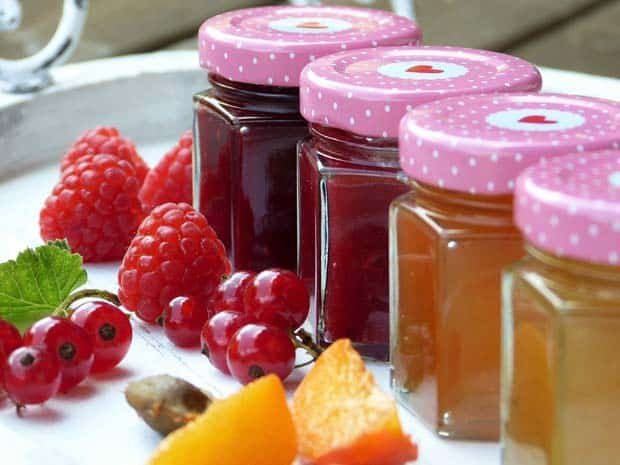 jars of jam and fruit