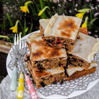 Simnel Cake slices on plate