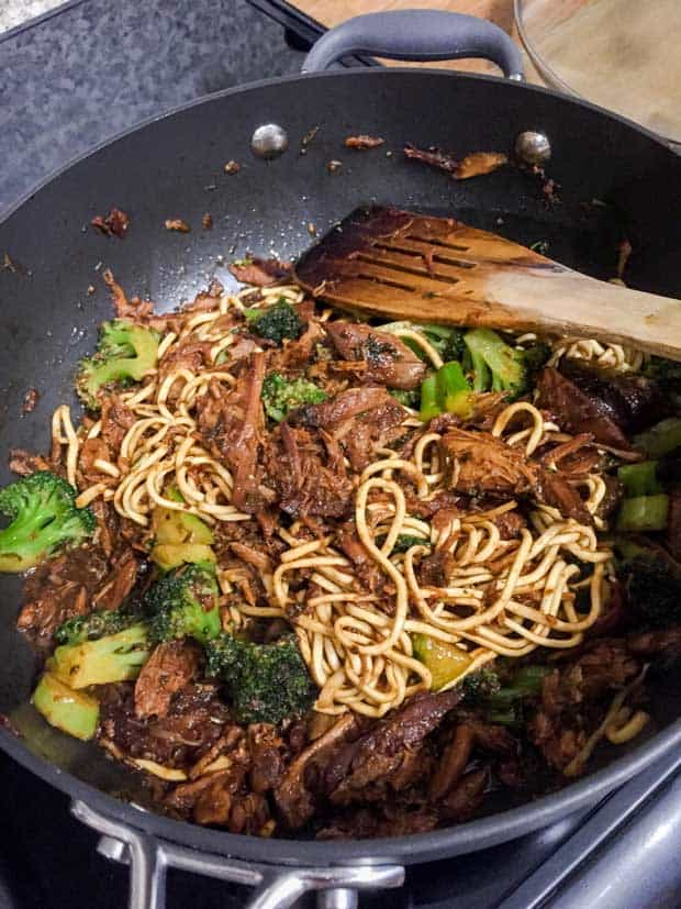 Combine the Honey Soy Chicken with noodles in a pan