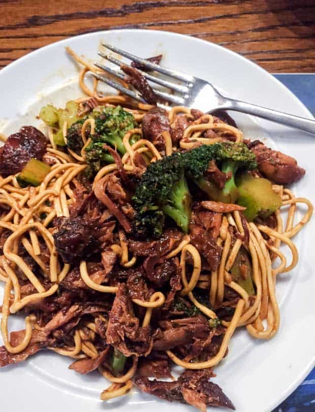 A tasty plate of Honey and Garlic Chicken mixed with noodles and broccoli