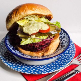 Delicious vegetarian Beetroot Burgers with all the trimmings