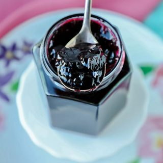 Close up Blackcurrant Jam on Spoon