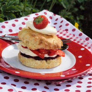 Summer Strawberry Shortcake, a rich short scone filled with strawberries and cream