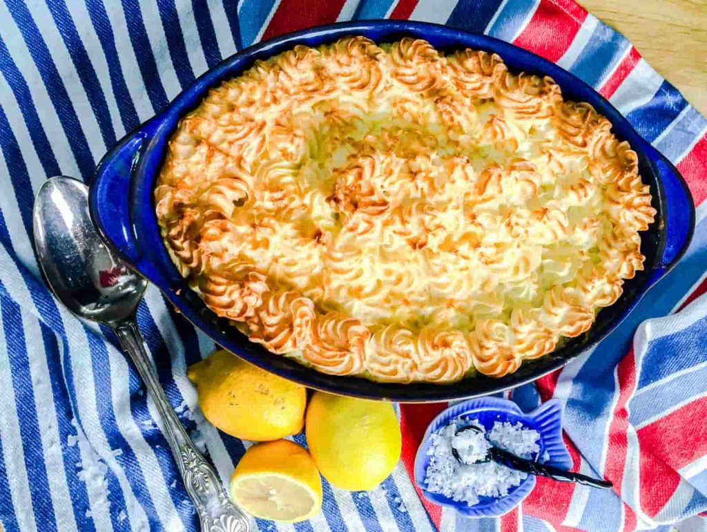 Low Calorie Fish Pie with Lemons and spoon