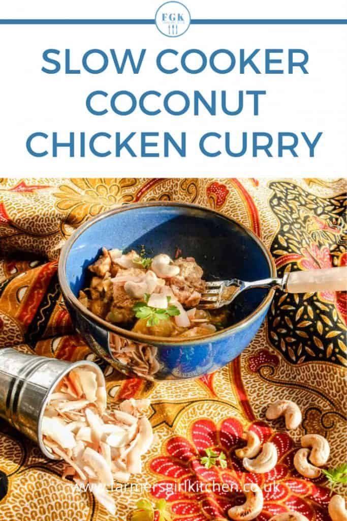 Slow Cooker coconut chicken Curry in bowl
