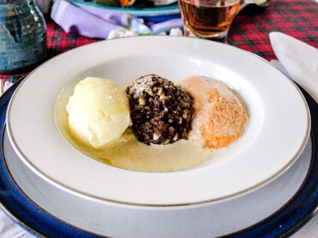 Plate of Haggis and vegetables