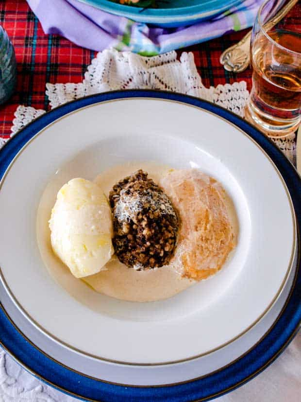 Mashed Potato, haggis and mashed turnip with cream sauce