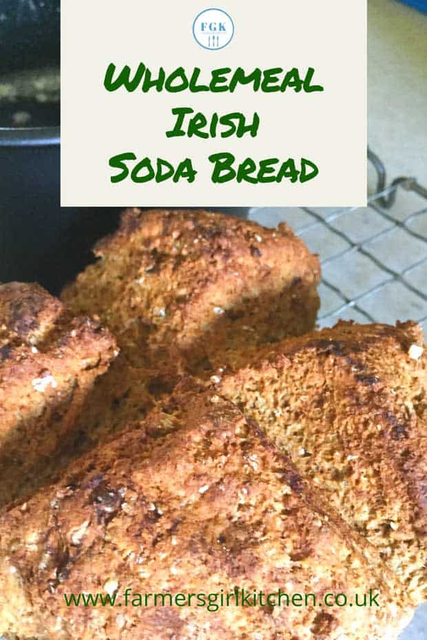 Wholemeal Irish Soda Bread loaf on baking tray