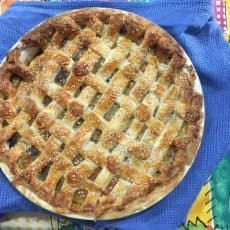 A delicious Easy, Cheesy Vegetable Pie with a lattice top