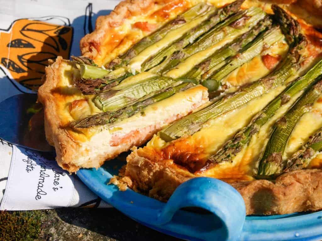 A slice of Smoked Salmon and Asparagus Tart