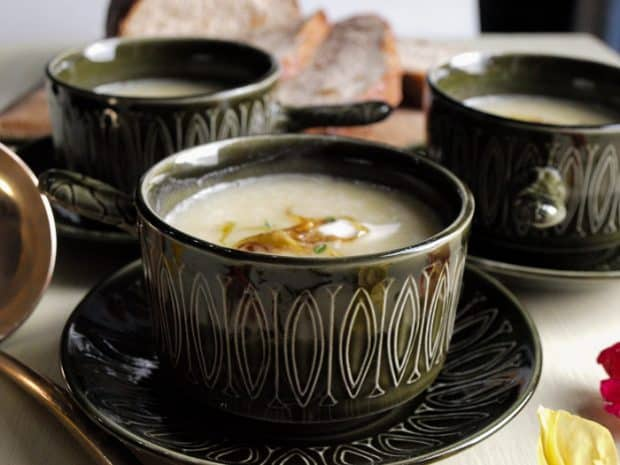I serve the Leek and Potato Soup with a swirl of cream and crispy fried onions