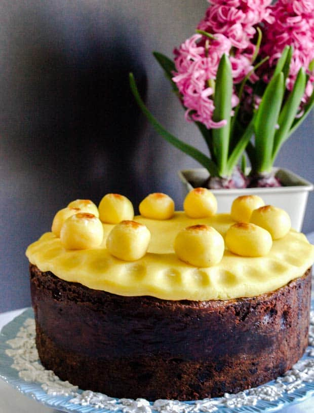 Easter Simnel Cake with flowers