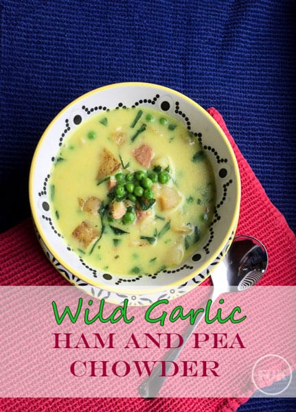 Make the most of seasonal foraged herbs, make this Simply Seasonal Wild Garlic, Ham and Pea Chowder #recipe #wildgarlic #soup #chowder via https://farmersgirlkitchen.co.uk