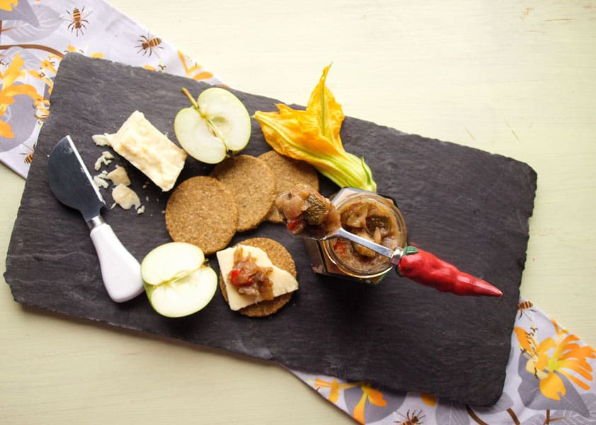 Spicy Courgette and Apple Chutney is ideal served with crackers and cheese