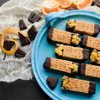A pretty plate of Chocolate Orange Scottish Shortbread fingers for afternoon tea