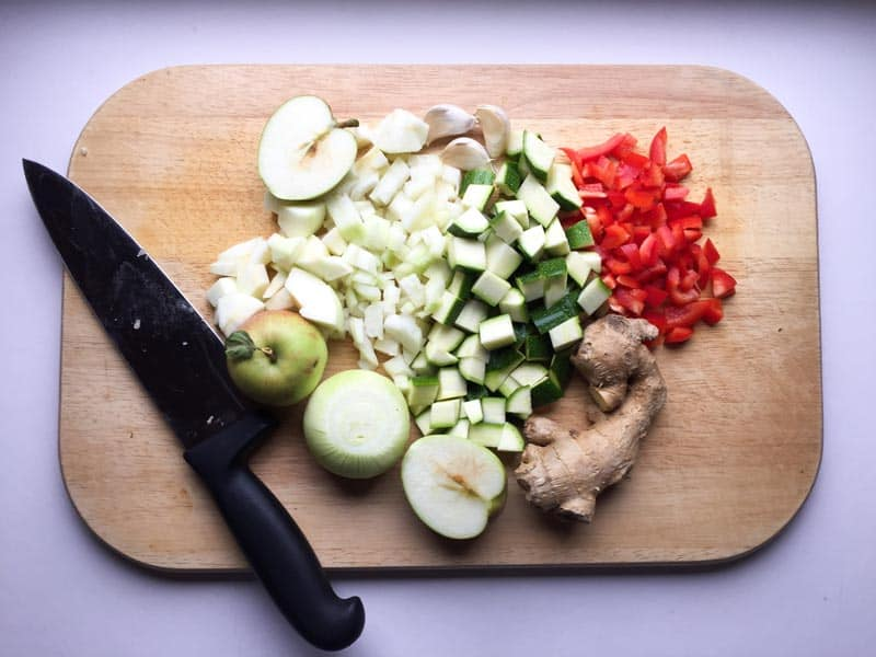 Spicy Courgette and Apple Chutney ingredients