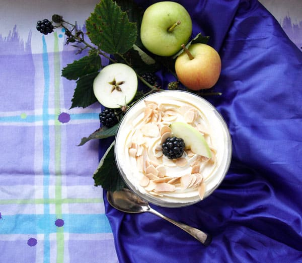 Bowl of Blackberry and Apple Trifle