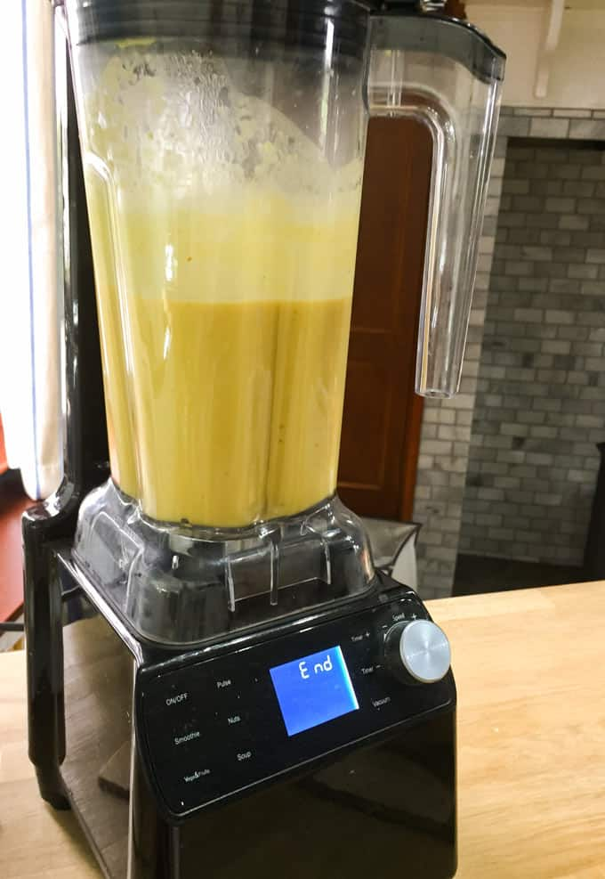Blending the Spicy Roast Pumpkin and Coconut Soup in the Optimum Vac 2 Vacuum Blender