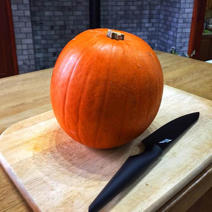 A beautiful pumpkin ready to roast for roasted pumpkin hummus