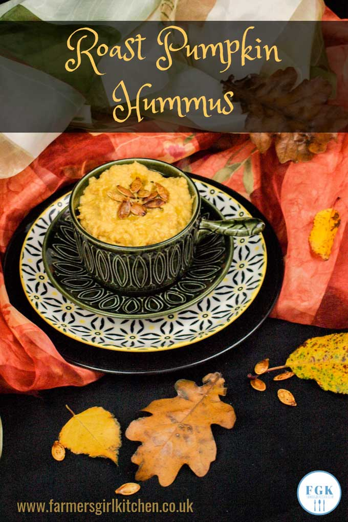 Roast Pumpkin Hummus combines sweet roasted pumpkin with chickpeas and tahini to make a delicious dip or spread, ideal for parties or family snacks served with pitta bread and carrot sticks  #pumpkin #hummus #recipe #halloween #party #autuman #fall