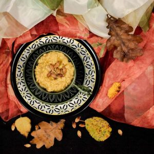 Roasted Pumpkin Hummus topped with Roasted Pumpkin Seeds