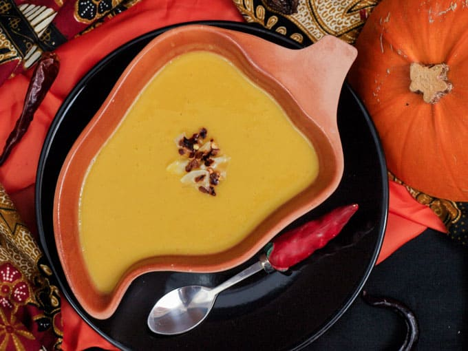 Spicy Roast Pumpkin and Coconut Soup is a delicious and simple soup to make with seasonal pumpkin