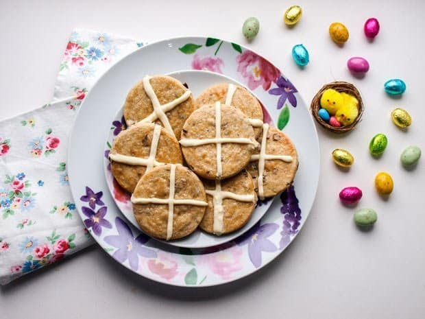 A plate of Hot Cross Shortbread Cookies Recipe for Easter