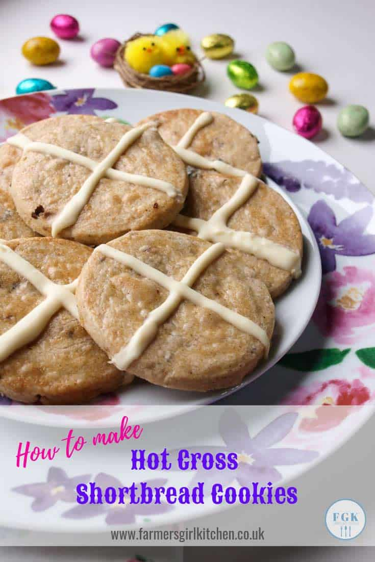 How to make Hot Cross Shortbread Cookies - an Easter Treat #shortbread #cookies #biscuits #recipe #Easter #spring #hotcrossbun