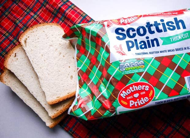 Loaf of Scottish Plain Bread and some slices of the bread