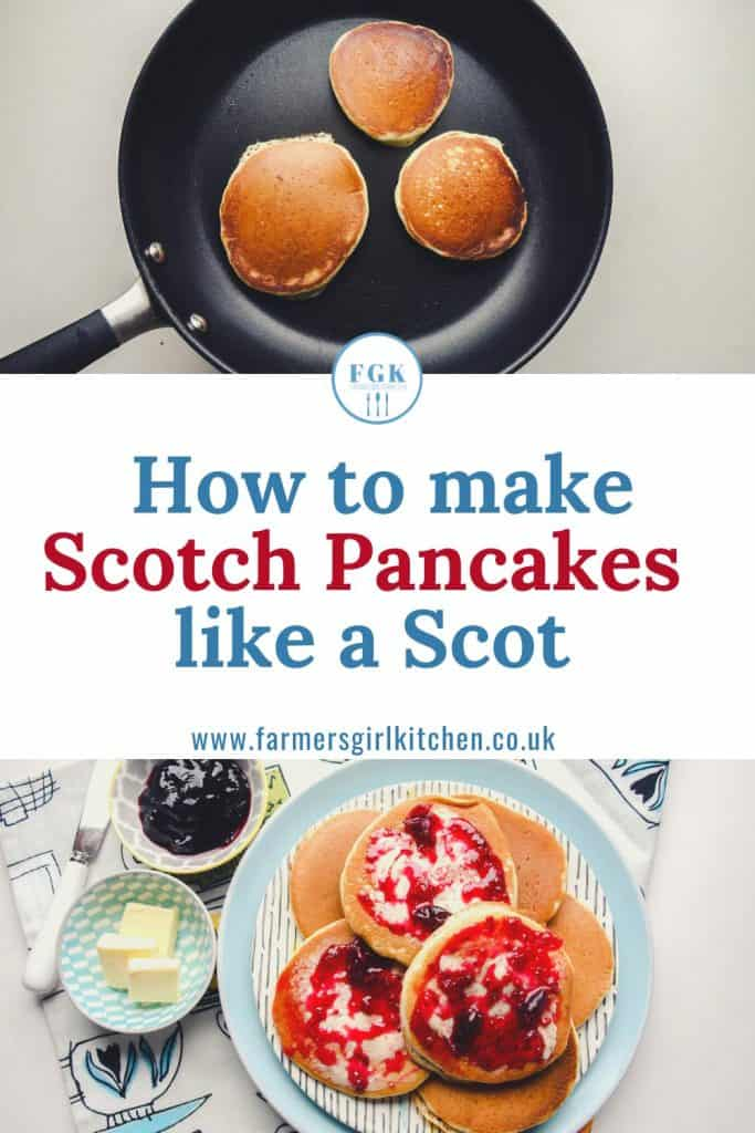 Pancakes in pan and on plate