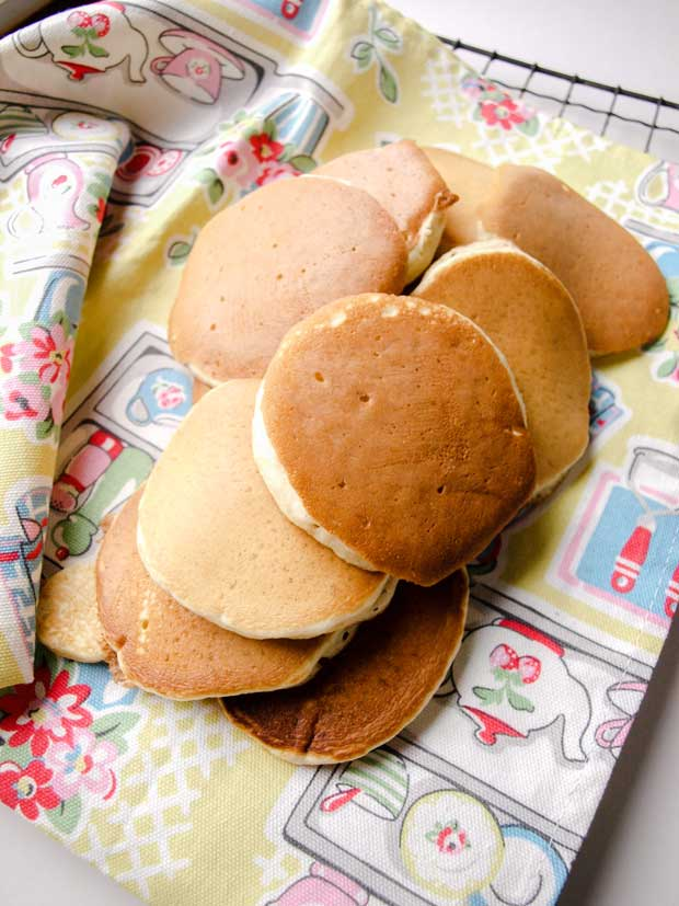 pancakes on tea towel